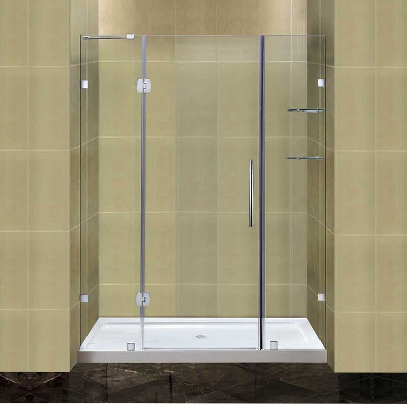 Aston Completely Frameless Hinged Shower Door with Glass Shelves and Low-Profile Base