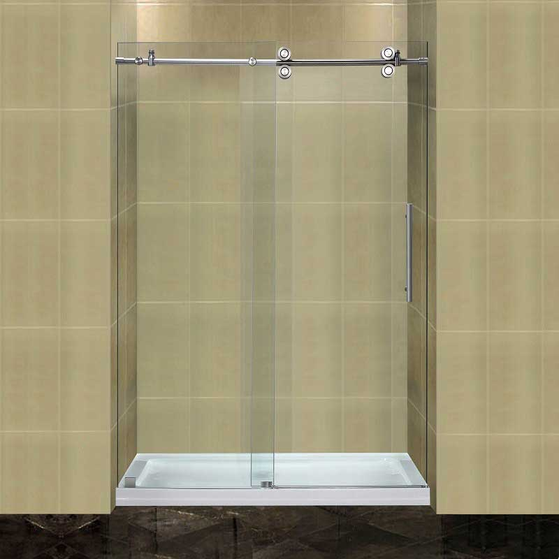 "Aston Completely Frameless 48"" W x 77.5"" H x 36"" D Sliding Shower Door with Low-Profile Base"