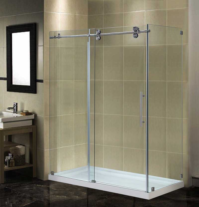 Aston Completely Frameless Sliding Shower Door Enclosure with Low-Profile Base
