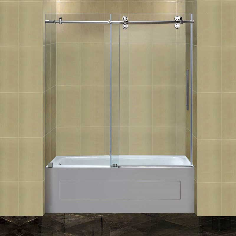 Aston Completely Frameless Tub-Height Sliding Shower Door