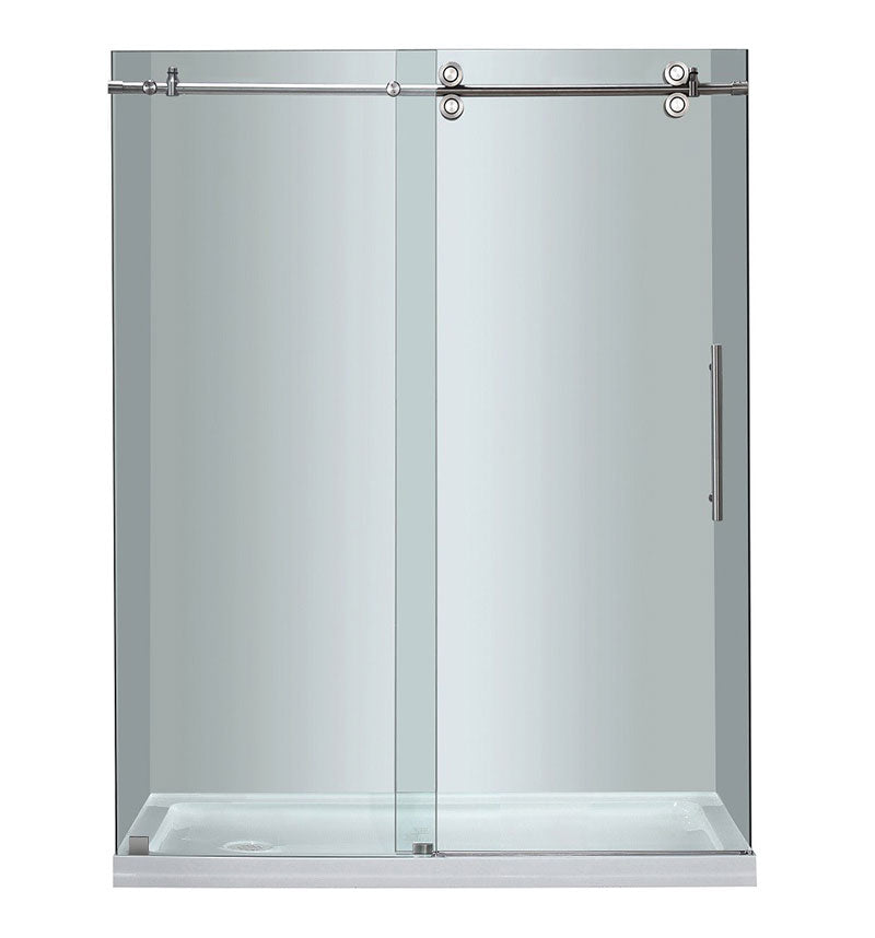 Aston Completely Frameless Sliding Shower Door with Low-Profile Base 2