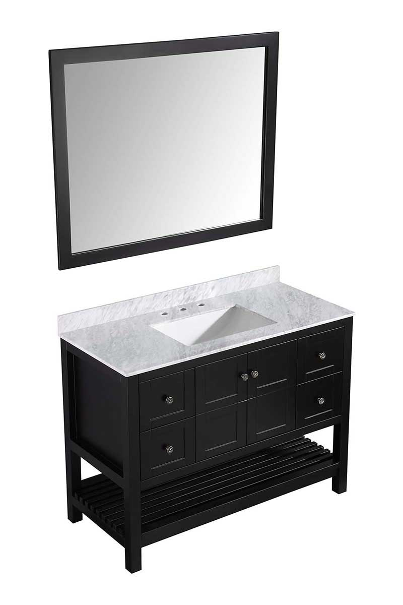 Anzzi Montaigne 48 in. W x 22 in. D Vanity in Espresso with Marble Vanity Top in Carrara White with White Basin and Mirror
