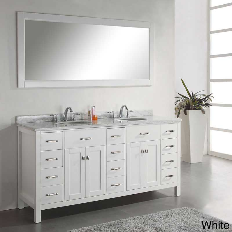 Virtu USA Caroline Parkway 72 Double Bathroom Vanity Set in White
