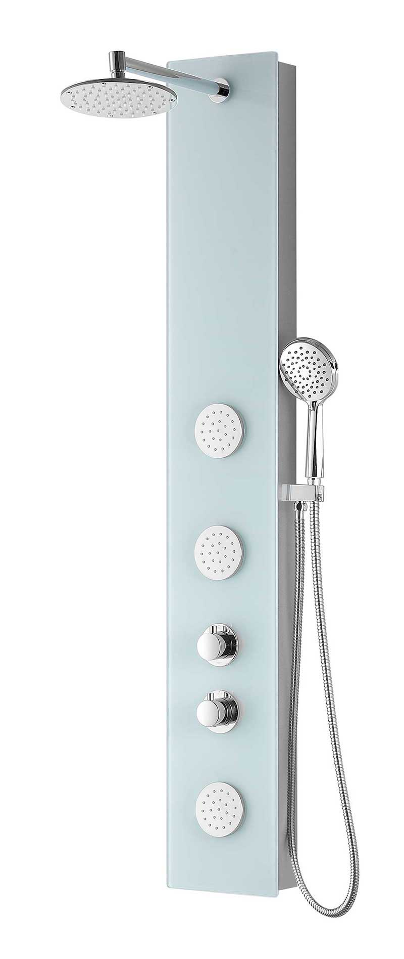 Anzzi MARE Series 60 in. Full Body Shower Panel System with Heavy Rain Shower and Spray Wand in White