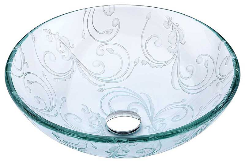 Anzzi Vieno Series Deco-Glass Vessel Sink in Crystal Clear Floral with Harmony Faucet in Brushed Nickel 2