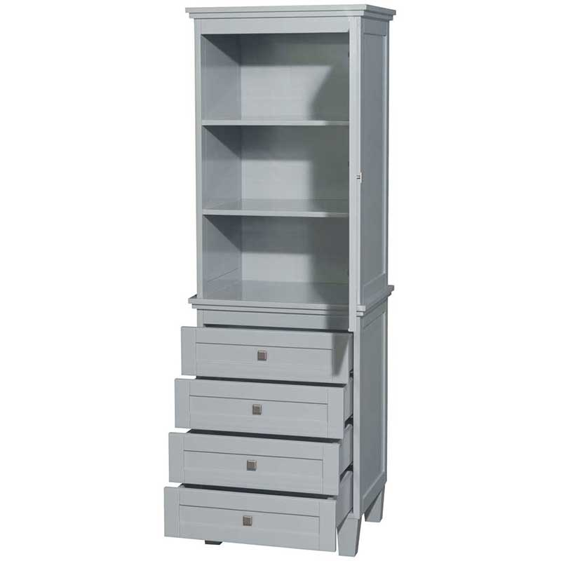 Amare Bathroom Linen Tower in Oyster Gray with Shelved Cabinet Storage and 4 Drawers 2