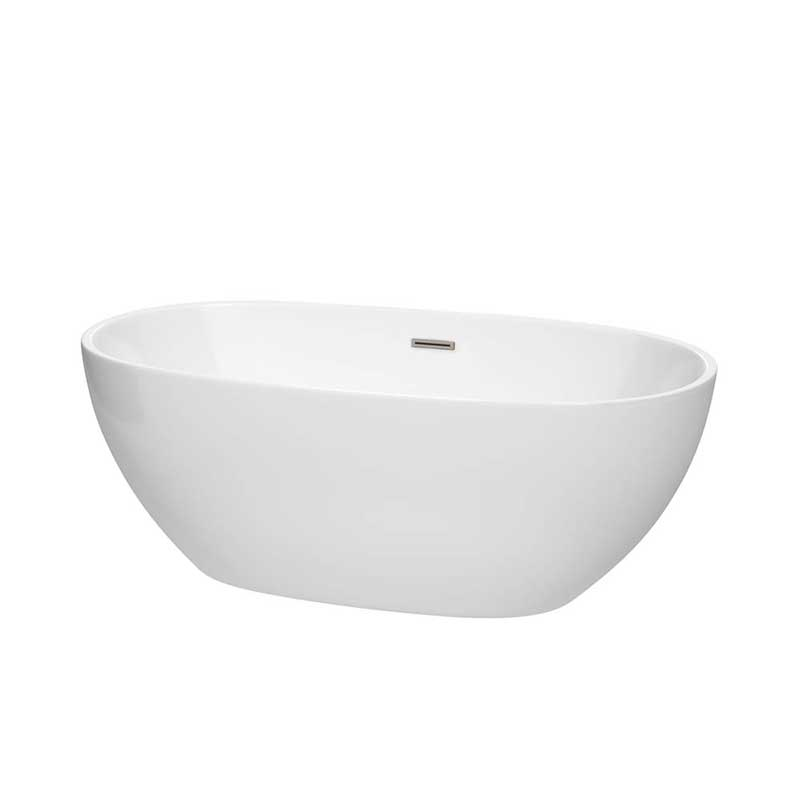 Wyndham Collection Juno 63 inch Freestanding Bathtub in White with Brushed Nickel Drain and Overflow Trim