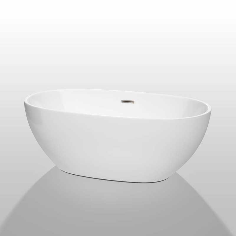 Wyndham Collection Juno 63 inch Freestanding Bathtub in White with Brushed Nickel Drain and Overflow Trim 2