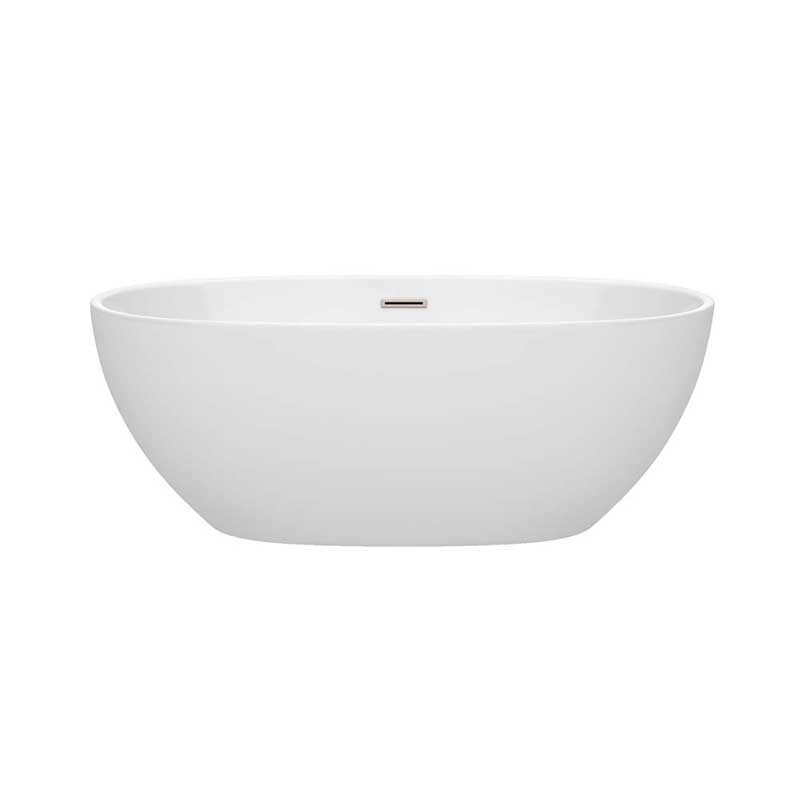 Wyndham Collection Juno 63 inch Freestanding Bathtub in White with Brushed Nickel Drain and Overflow Trim 4