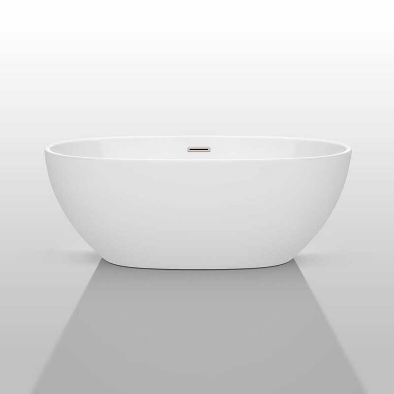Wyndham Collection Juno 63 inch Freestanding Bathtub in White with Brushed Nickel Drain and Overflow Trim 3
