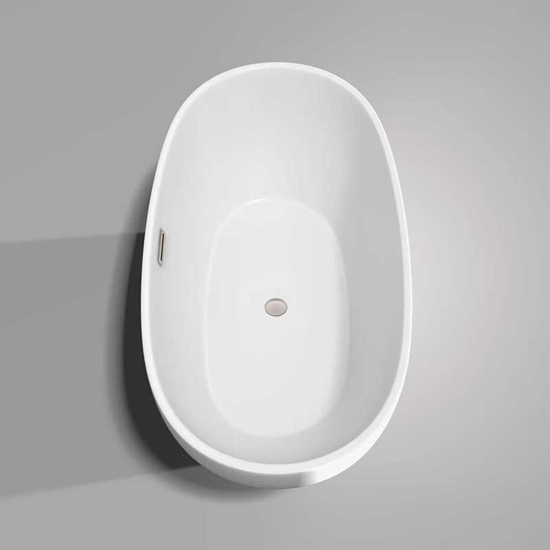 Wyndham Collection Juno 63 inch Freestanding Bathtub in White with Brushed Nickel Drain and Overflow Trim 5