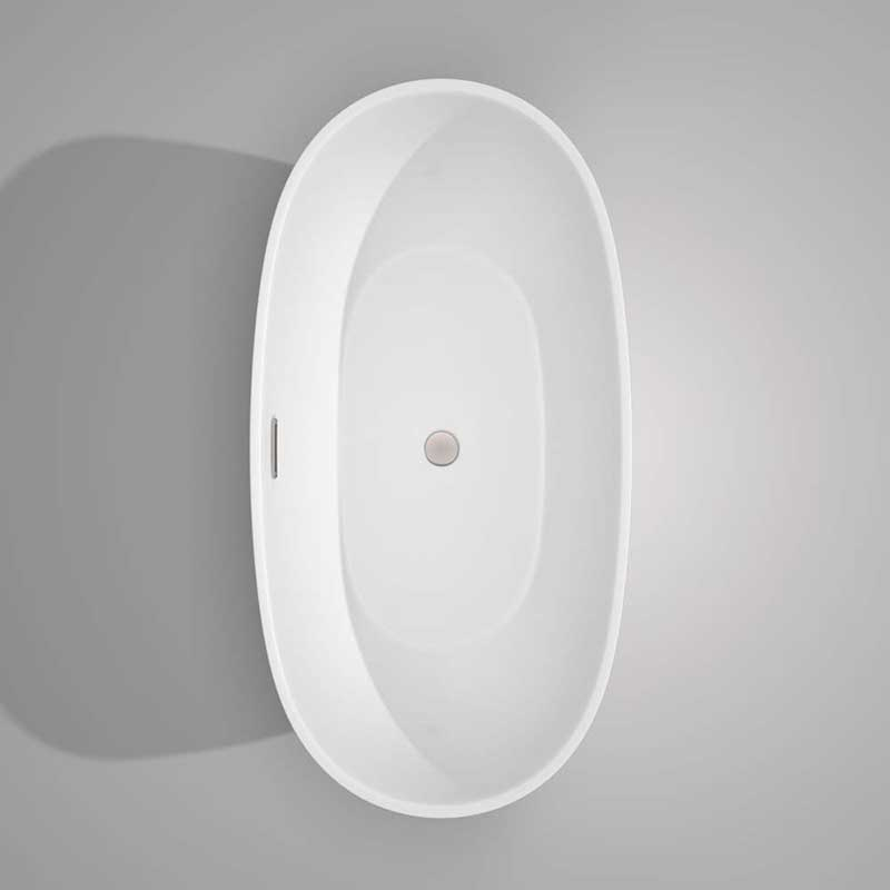 Wyndham Collection Juno 63 inch Freestanding Bathtub in White with Brushed Nickel Drain and Overflow Trim 7
