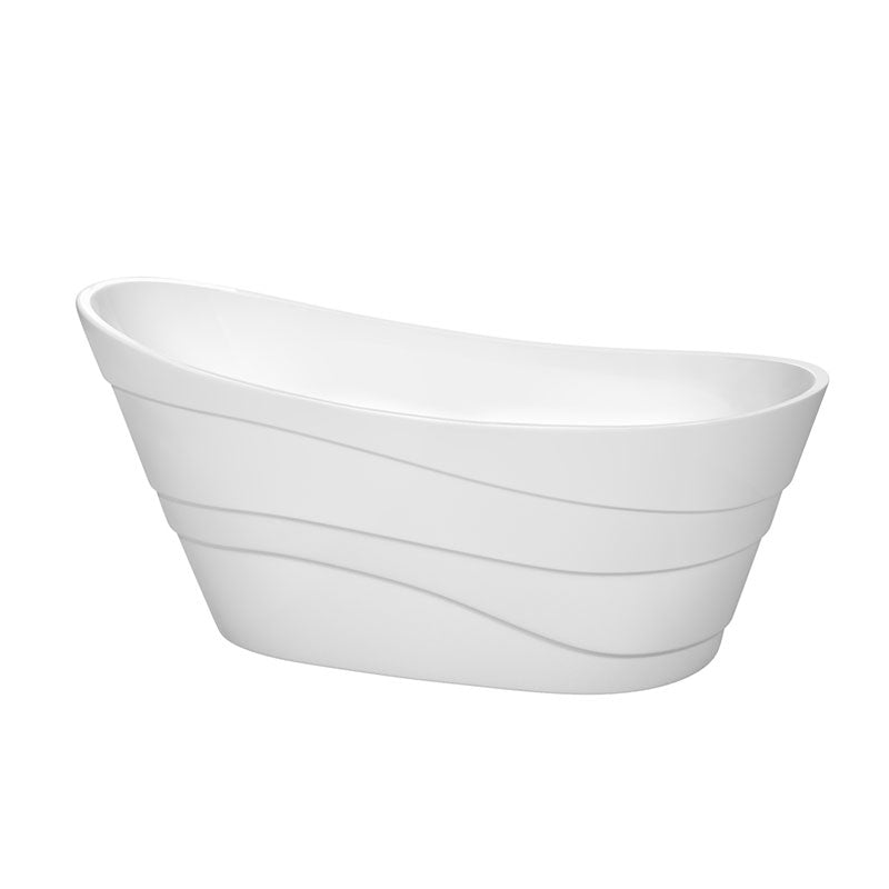 Wyndham Collection Kari 67 inch Soaking Bathtub in White with Polished Chrome Trim