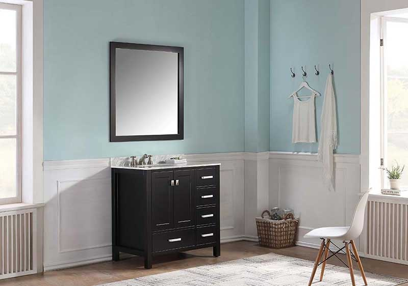 Anzzi Chateau 36 in. W x 22 in. D Vanity in Espresso with Marble Vanity Top in Carrara White with White Basin and Mirror 2