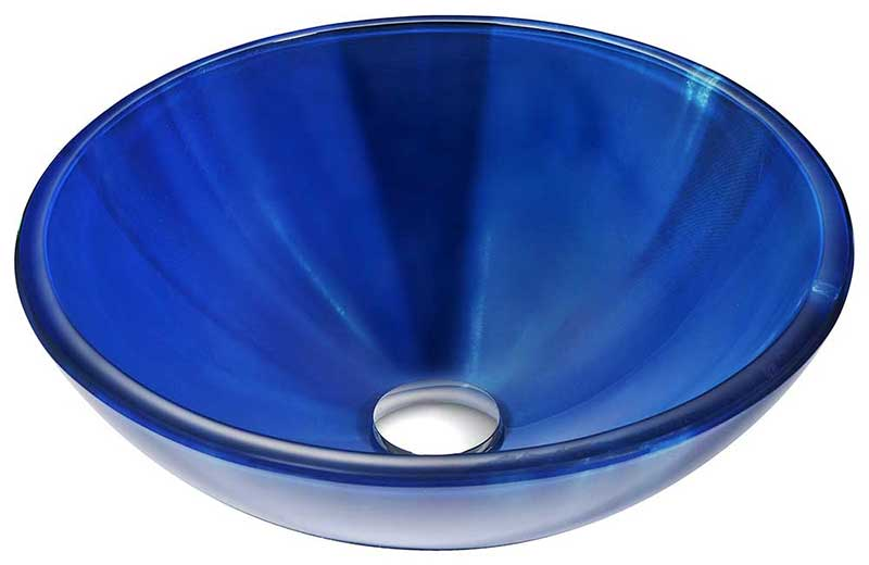 Anzzi Meno Series Deco-Glass Vessel Sink in Lustrous Blue with Key Faucet in Polished Chrome 2