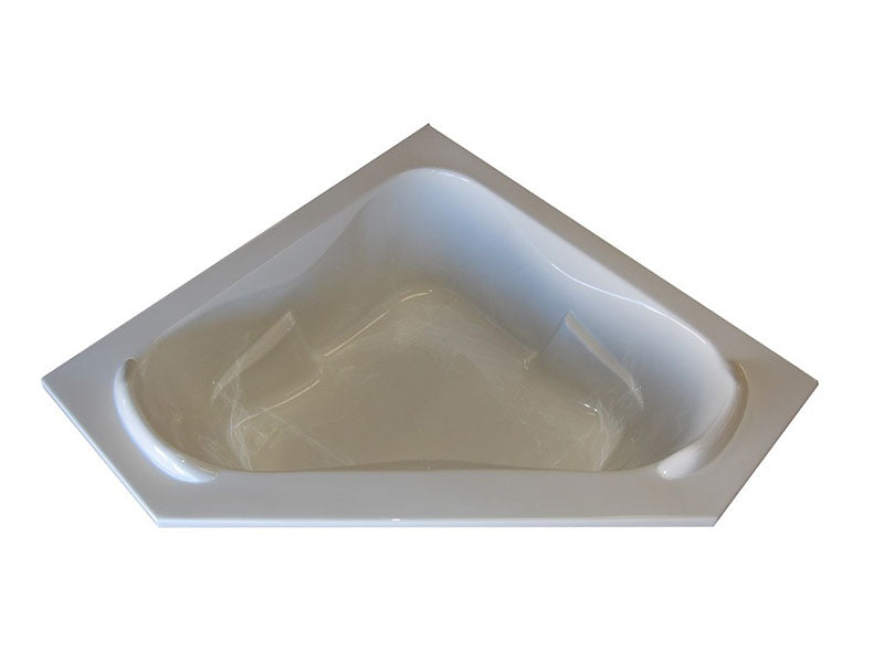 "American Acrylic 60"" x 60"" Soaker Corner Bathtub with Raised Headrest"