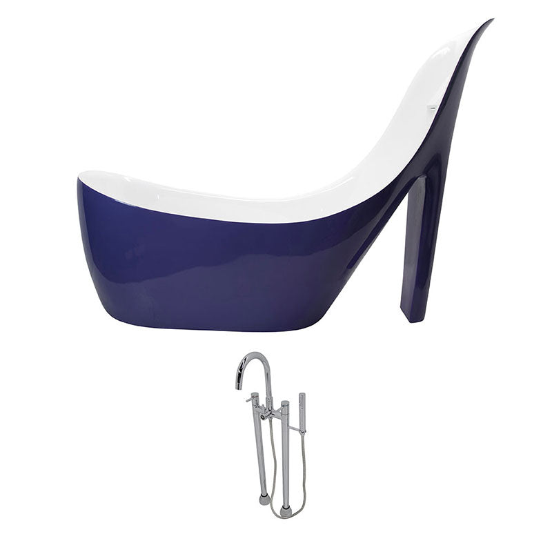 Anzzi Gala 6.7 ft. Acrylic Freestanding Non-Whirlpool Bathtub in Violet and Sol Series Faucet in Chrome