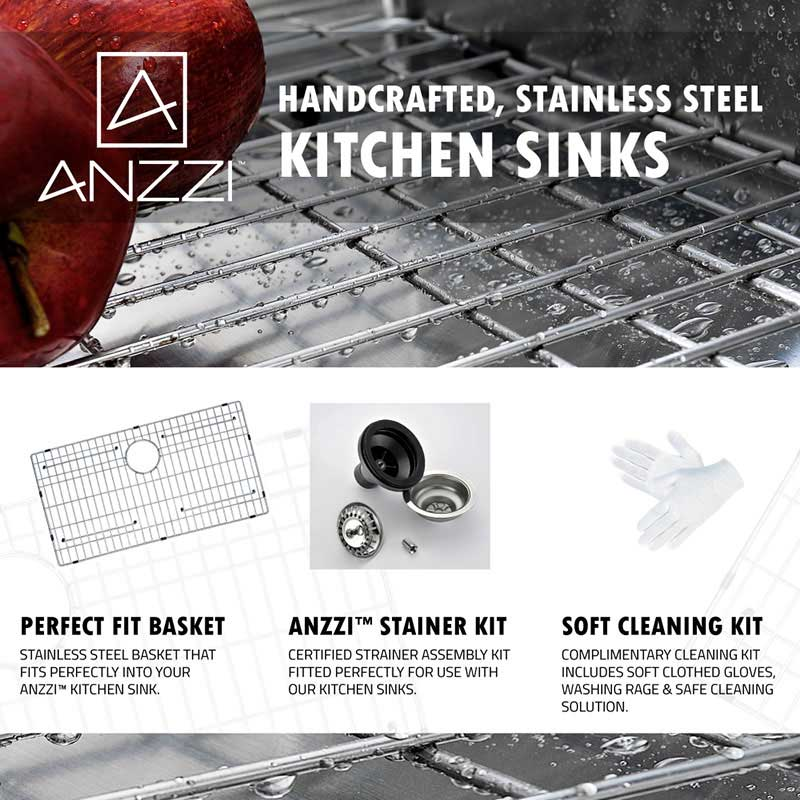 Anzzi VANGUARD Undermount Stainless Steel 30 in. Single Bowl Kitchen Sink and Faucet Set with Singer Faucet in Polished Chrome 7