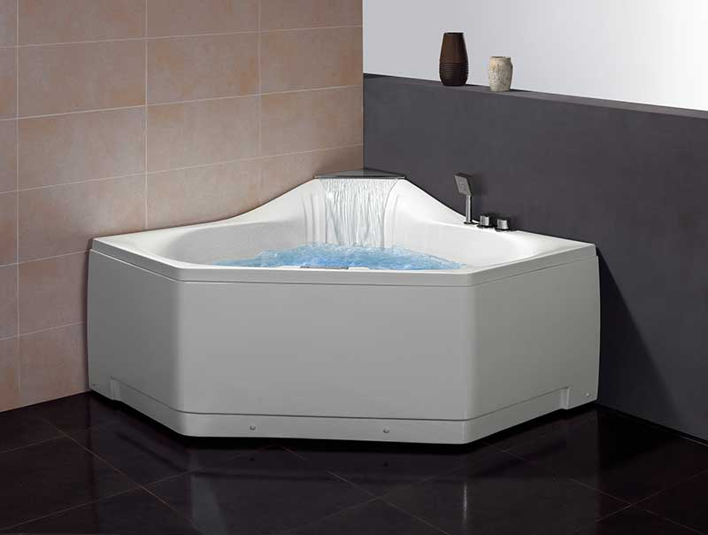 "Ariel Bath 59"" x 59"" Corner Whirlpool Tub with Waterfall Faucet"