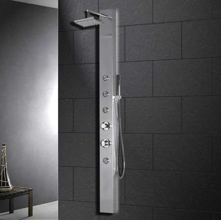 "Ariel Bath Stainless Steel 70"" Thermostatic Shower Panel 7"