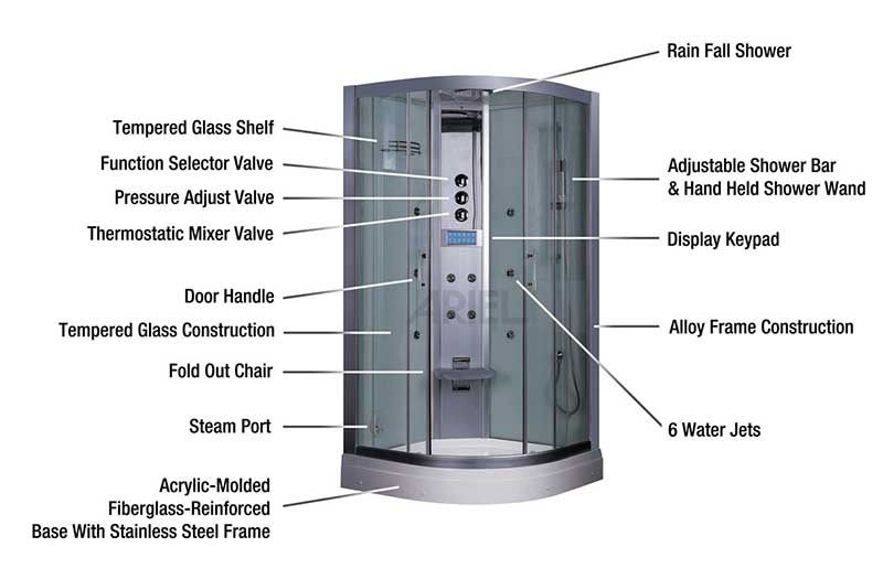 "Ariel Bath Platinum 35.5"" x 35.5"" x 87.5"" Neo-Angle Door Steam Shower 7"