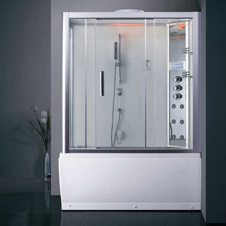 Ariel Bath Platinum Sliding Door Steam Shower with Bath Tub and Right-Hand Side Configuration