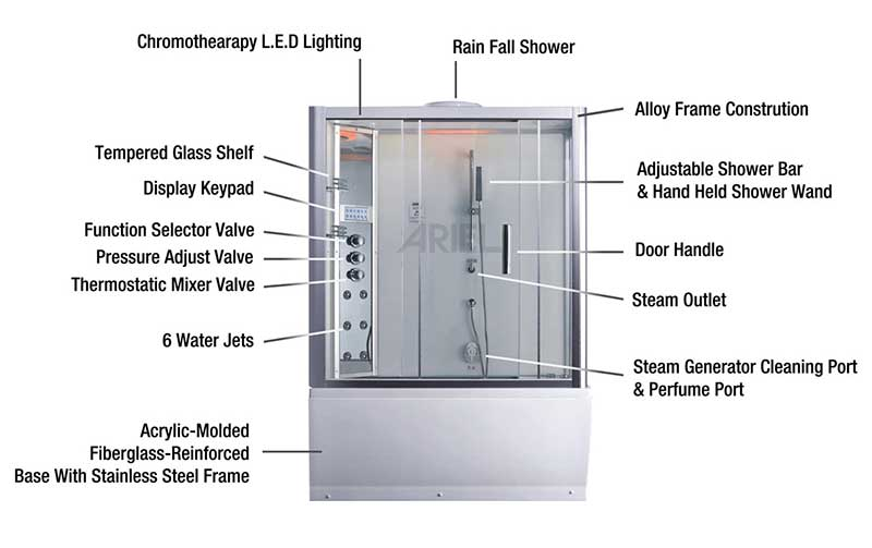 Ariel Bath Platinum Sliding Door Steam Shower with Bath Tub and Right-Hand Side Configuration 7