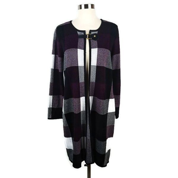 ANNE KLEIN Beautiful Bordeaux Plaid Cape - Evonnistore