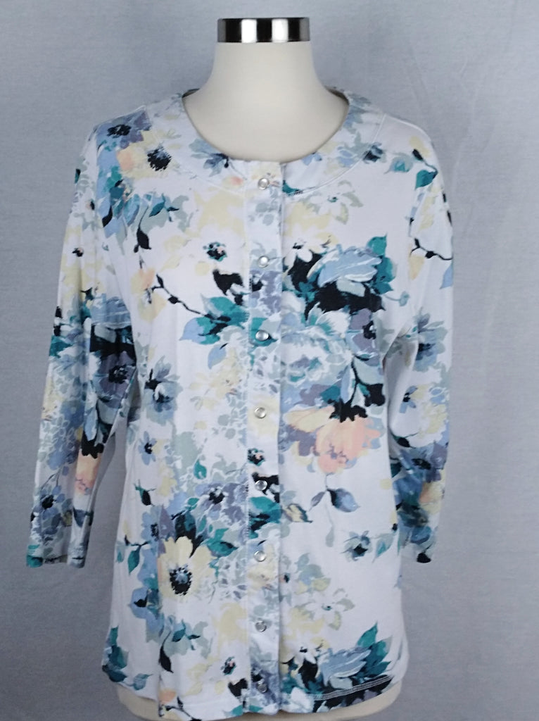 CORAL BAY Blue Floral top (Preloved) - Evonnistore