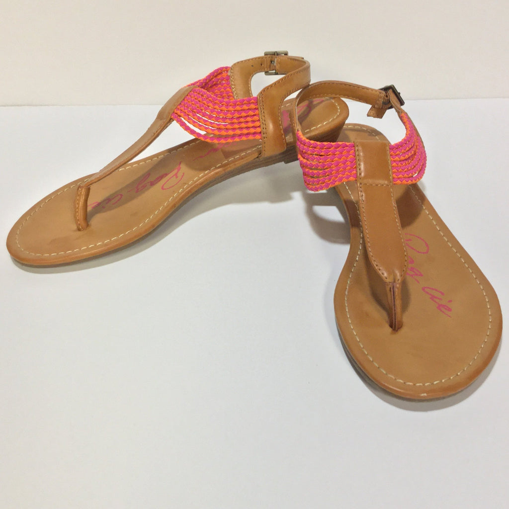 AMERICAN RAG CIE Piper T-Strap, pink and orange straps (Pre-loved)