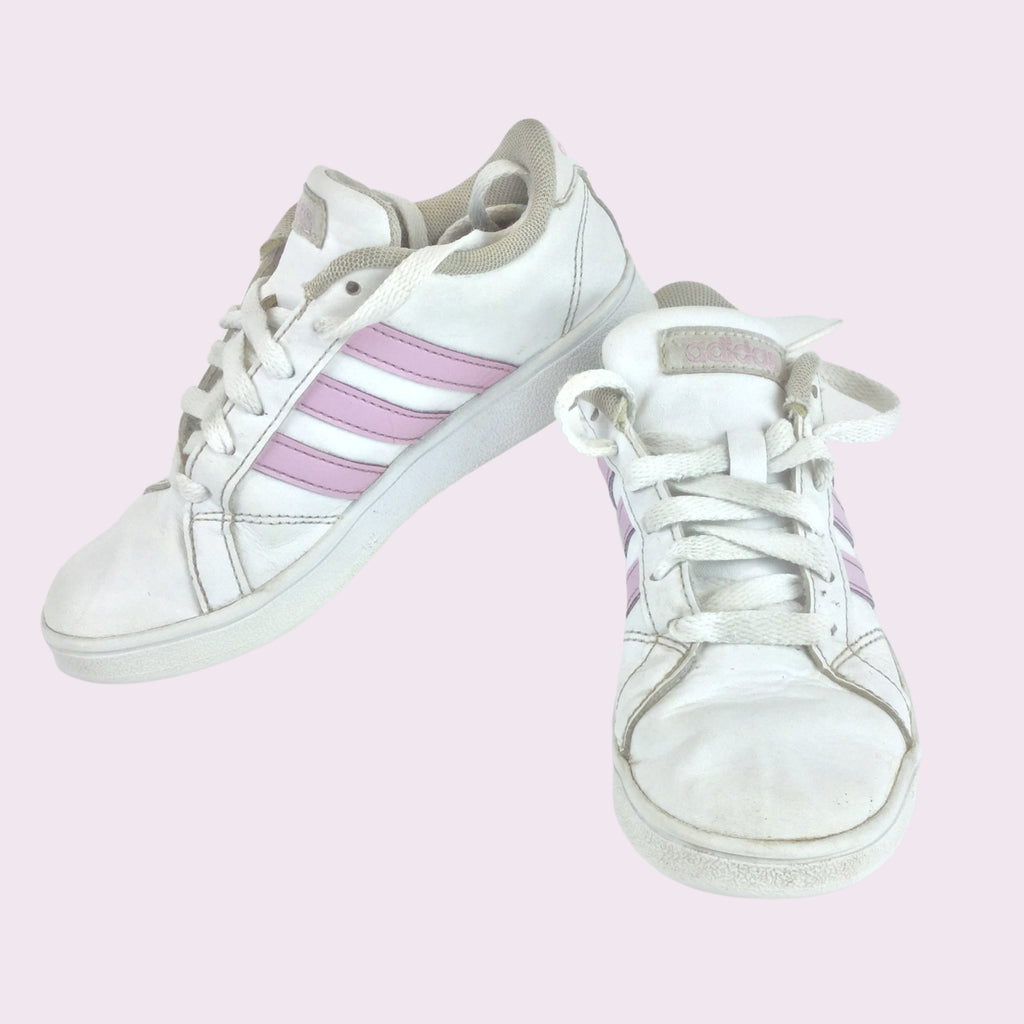 ADIDAS Shoes Kids white with pink stripes.  (Pre-Loved)