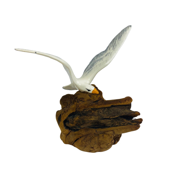 Cardee West Seagull hand painted ceramic mounted on Drift wood (Pre-Loved)