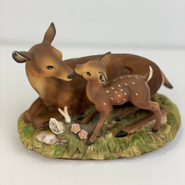 MASTERPIECE HOMCO (Mother Deer and Baby) Porcelain Animals Vintage 1979