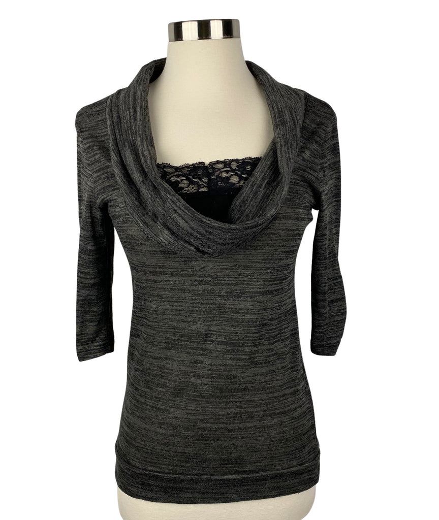 BOBBIE BROOKS Gray Cowl Neck Top with Lace. (Pre-Owned)