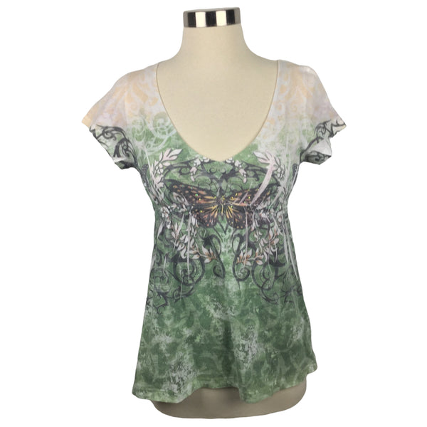 YUKIKO Embellished V-Neck Butterfly Top (Pre-Loved)