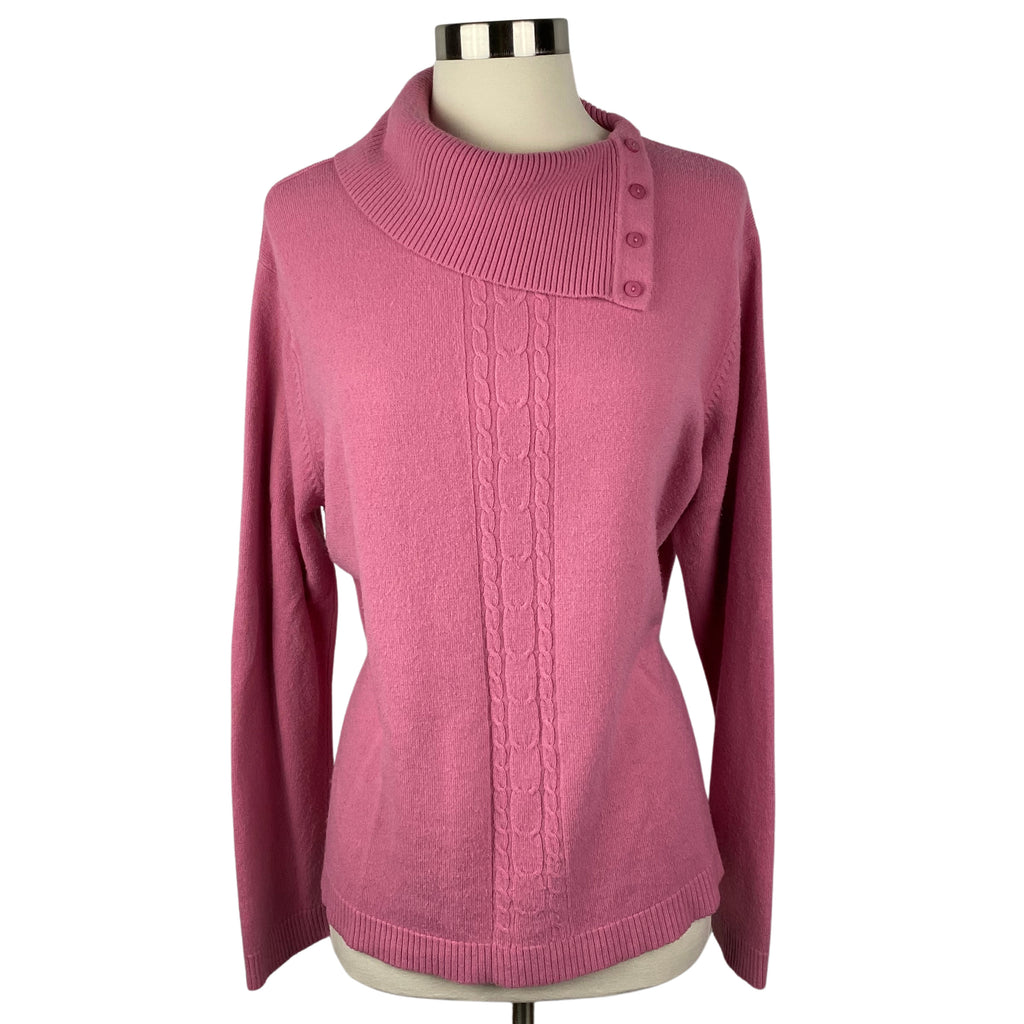 WHITE STAG Mauve Split button Neck Cable Knit Sweater (Pre-Loved)