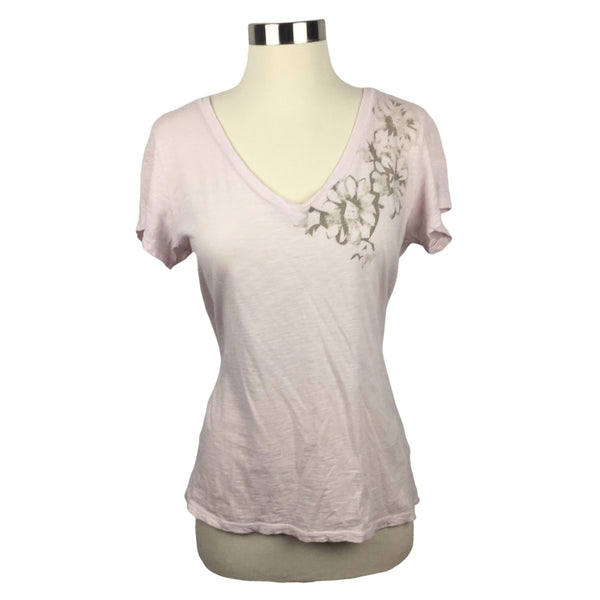 BANANA REPUBLIC pink Tee and Brown Flower Top (Pre-Loved)