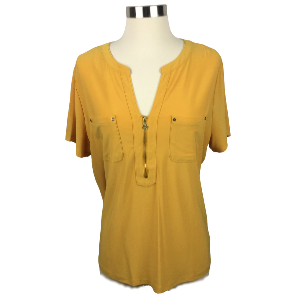 ANNE KLEIN Cezanne Mustard Short Sleeve Zipper Top (NWT)