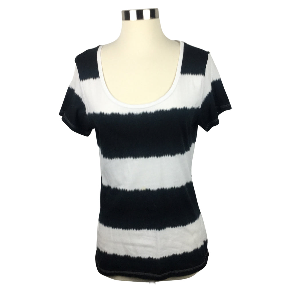 FADED GLORY Black Striped Scoop Neck T-Shirt (Pre-Loved)
