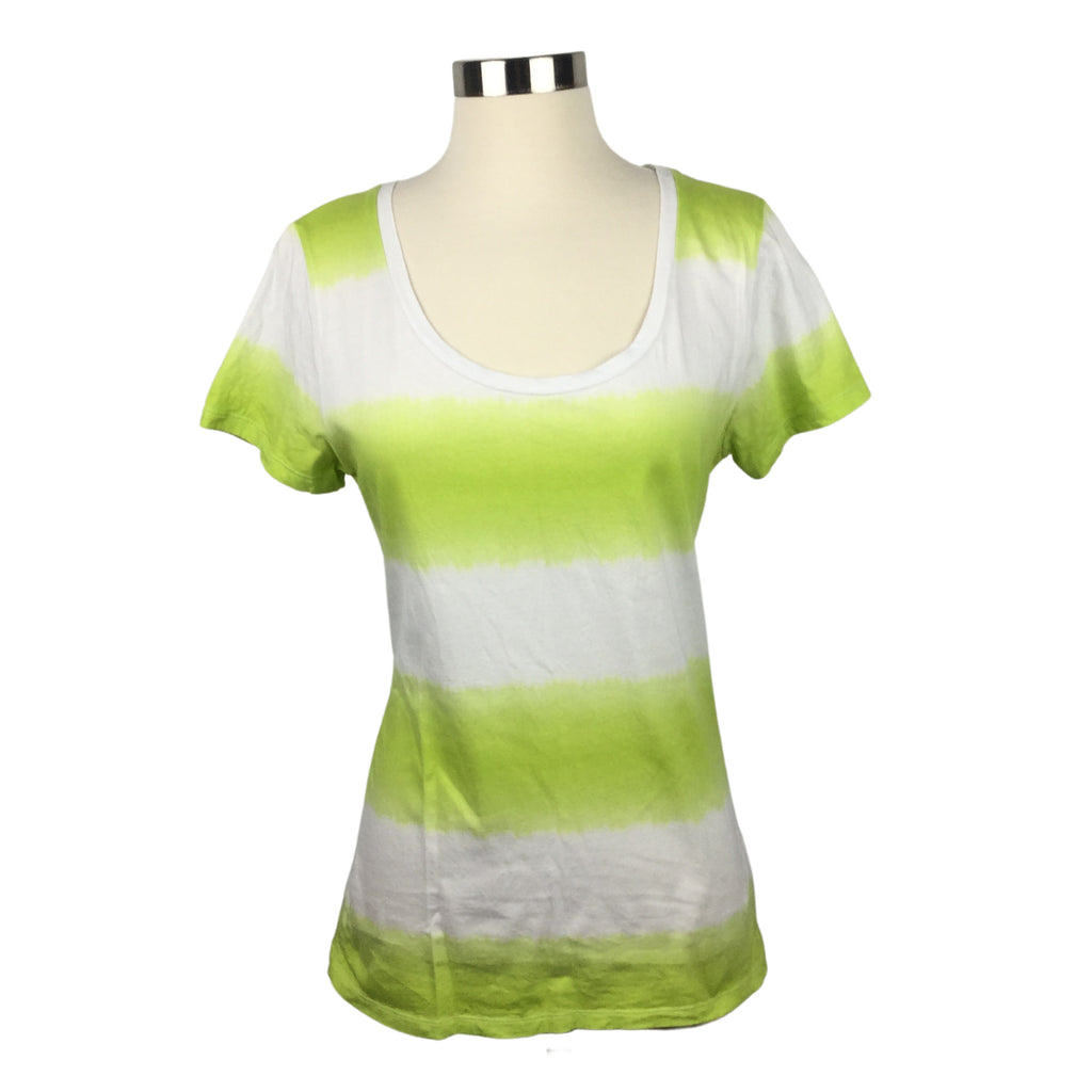 FADED GLORY lime green stripe Scoop Neck T-shirt (Pre-Loved)