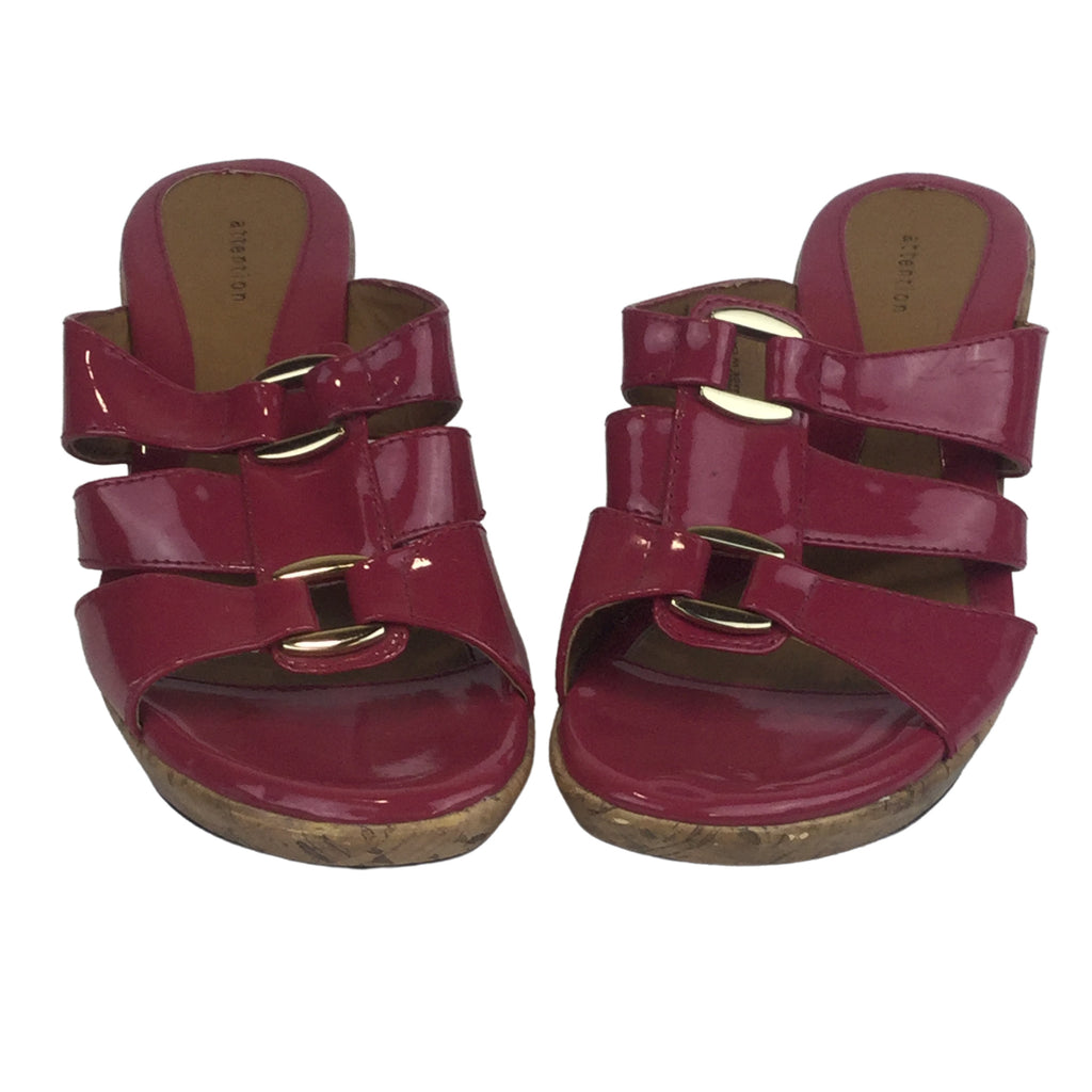 ATTENTION Pink Wedge Sandals with Gold Buckle (Pre-Loved)