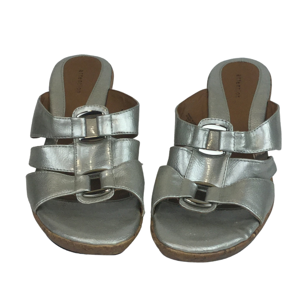 ATTENTION Silver Wedge Sandals with Silver Buckle (Pre-Loved)