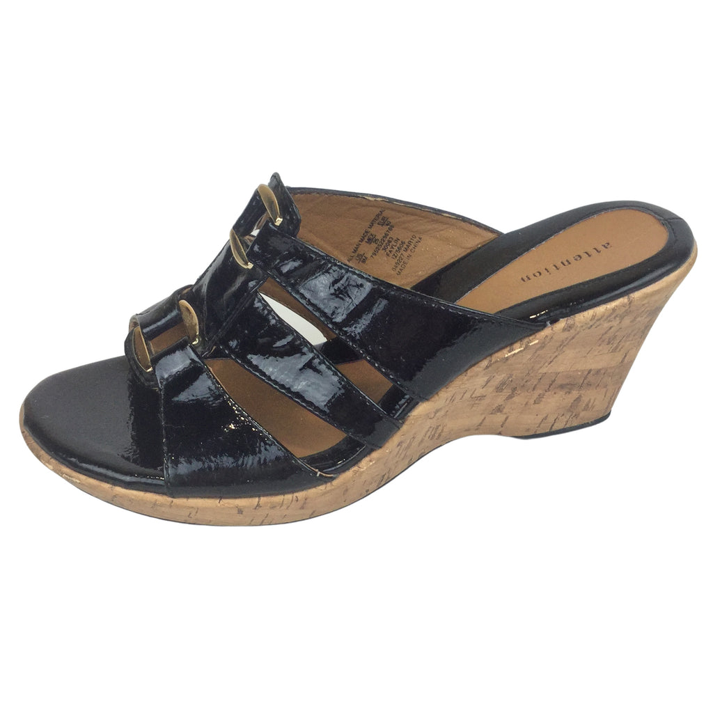 ATTENTION Black Wedge Sandals with Gold Buckles (Pre-Loved)