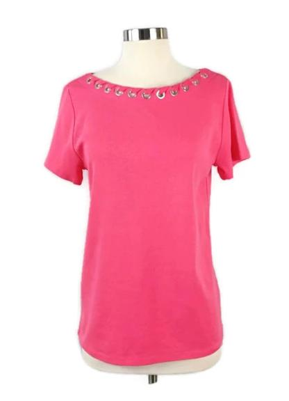RAFAELLA Short Sleeve Top Coral Color (NWT) - Evonnistore
