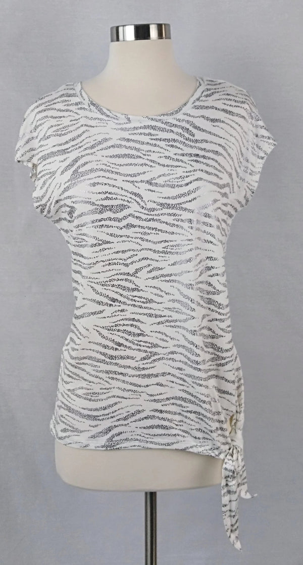 JANE and DELANCEY white with metallic silver Zebra Print Top - Evonnistore