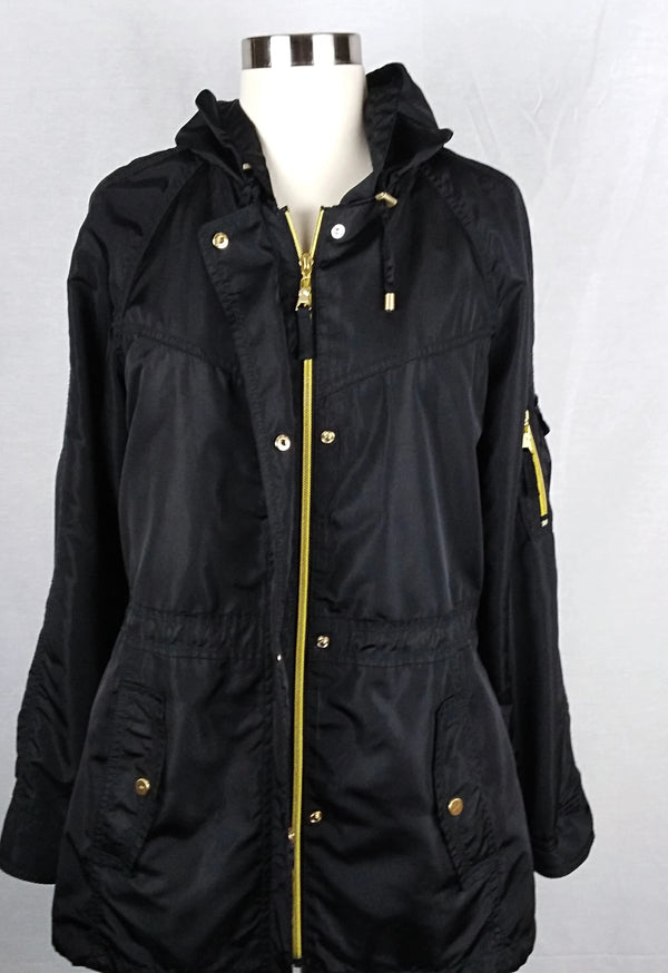 JONES NEW YORK black windbreaker jacket with Gold Buttons and zipper (Preloved) - Evonnistore