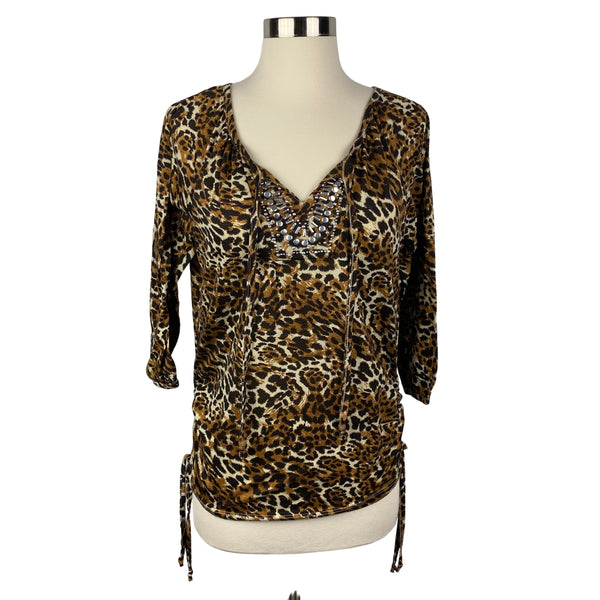 BOBBIE BROOKS Leopard Print Embellished Tie String Top (Pre-Loved)