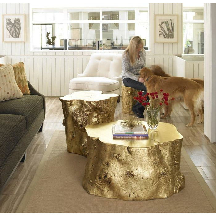 Log Coffee Table Gold Leaf - Modern Studio Furniture