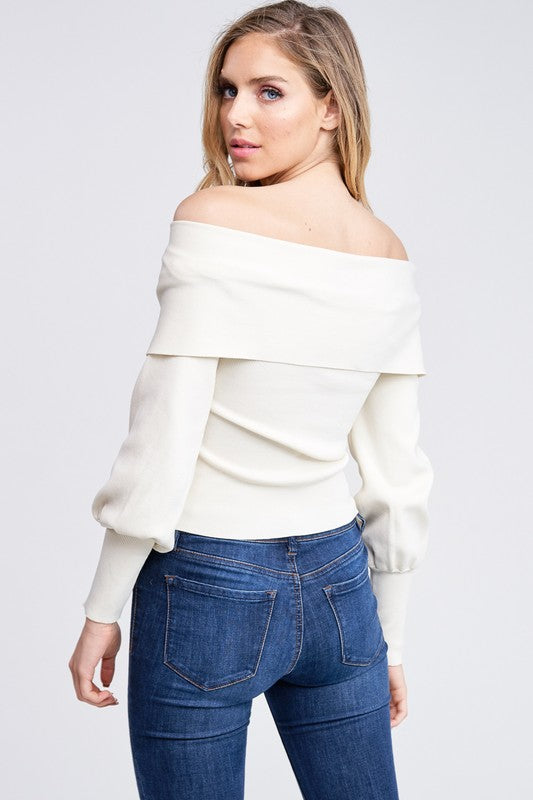 Olivia Off Shoulder Sweater Top - Ivory