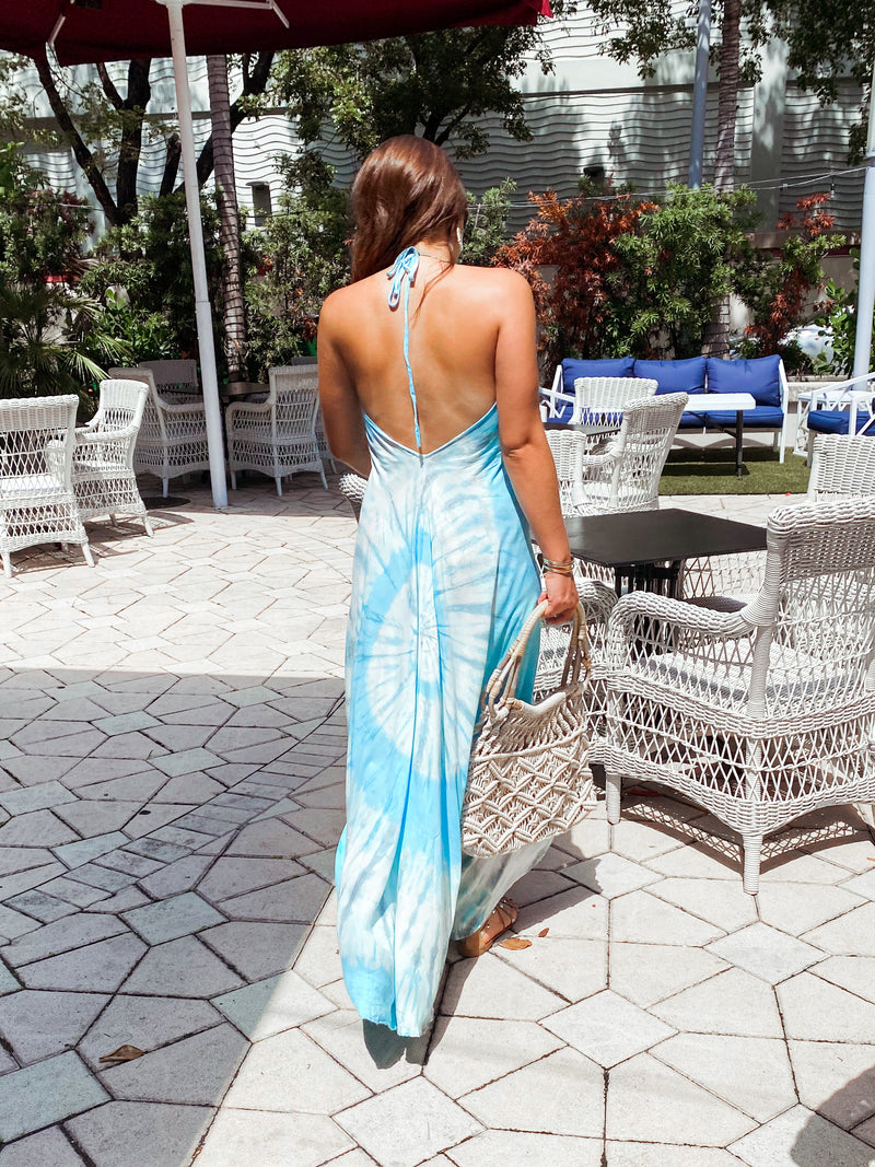 Beach Therapy Tie Dye Maxi Dress - Sky Blue / White